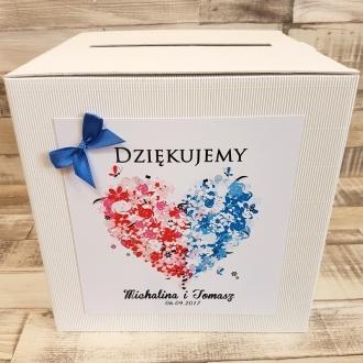 Pudełko na koperty i prezenty z Motywem Kwiatowego Serca Dwukolorowego i Niebieską Tasiemką WP15