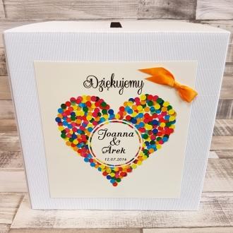 Pudełko na koperty i prezenty z Motywem Serca z Kolorowych Kropek i Pomarańczową Tasiemką WP16