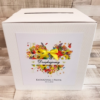 Pudełko na koperty i prezenty z Motywem Wiosennego Serca i Żółtą Tasiemką WP17