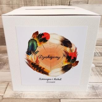 Pudełko na koperty i prezenty z Motywem Ptasich Piór WP24