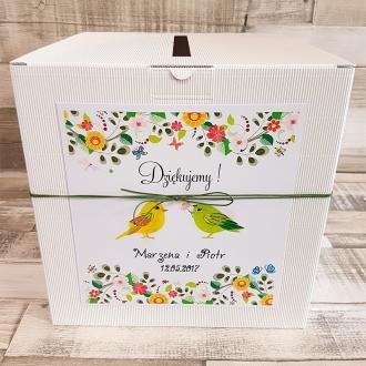 Pudełko na koperty i prezenty z Motywem Ptaków i Zielonym Sznurkiem WP27