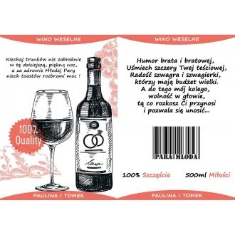 Etykiety na Wino Weselne Czerwone - 16 sztuk EW2