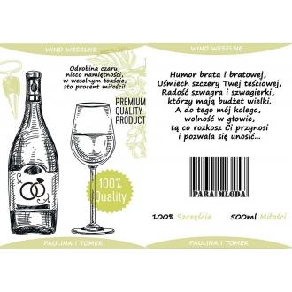 Etykiety na Wino Weselne Oliwkowe - 16 sztuk EW5