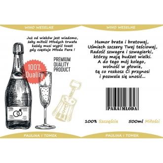 Etykiety na Wino Weselne Beżowe - 16 sztuk EW7