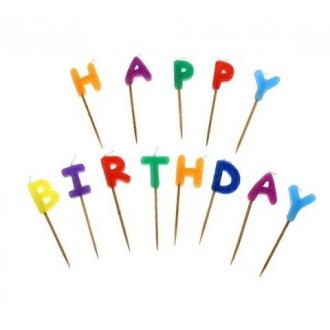 """Świeczki pikery literki """"Happy Birthday"""""""