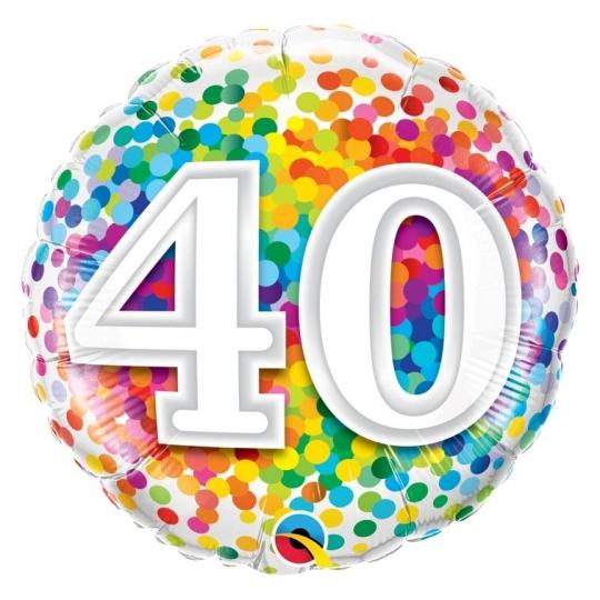 """Balon foliowy 18"""" QL CIR """"40 Confetti"""""""