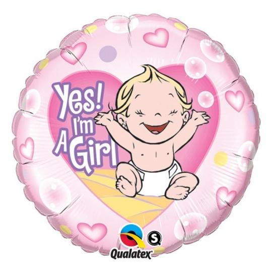 "Balon foliowy 18"" QL CIR ""Yep! I am a Girl"" ST ASORT"