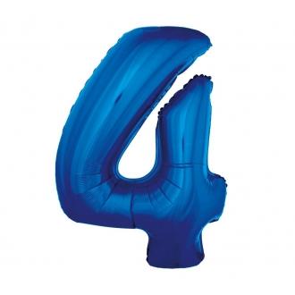 """Balon foliowy """"Cyfra 4"""", niebieska, 85 cm"""