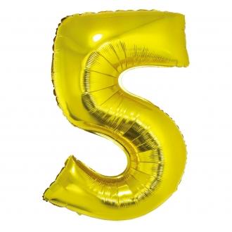 """Balon foliowy """"Cyfra 5"""", złota, 85 cm"""
