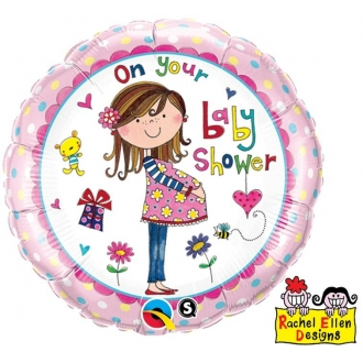 "Balon foliowy 18"" QL CIR ""On Your Baby Shower """