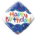 """Balon foliowy 18"""" QL SQR """"Happy Birthday Scribble Confetti"""""""