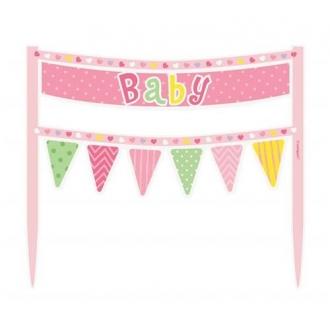 """Dekoracja na tort """"Baby"""", różowe groszki"""
