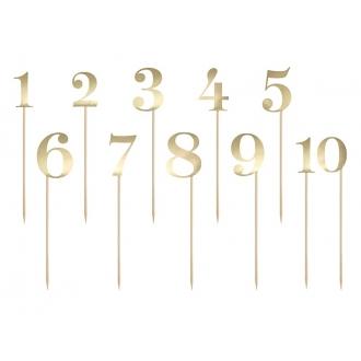 Numery na stół, złoty, 25,5-26,5cm (1 op. / 11 szt.)