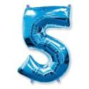 """Balon foliowy FX - """"Number 5"""" niebieski, 85 cm"""