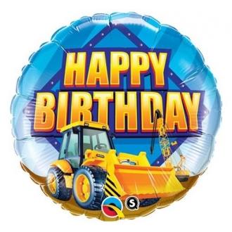 "Balon foliowy 18"" QL CIR ""Happy Birthday"" (koparka)"
