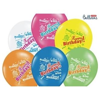 Balony 30cm, Happy Birthday, Pastel Mix (1 op. / 50 szt.)
