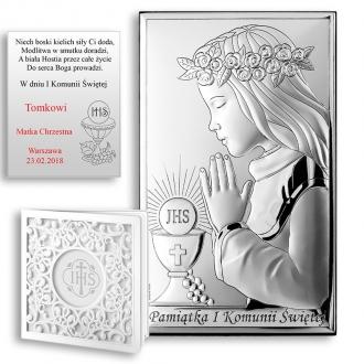 Obrazek Srebrny na Pierwszą Komunię z Dziewczynką WVL804