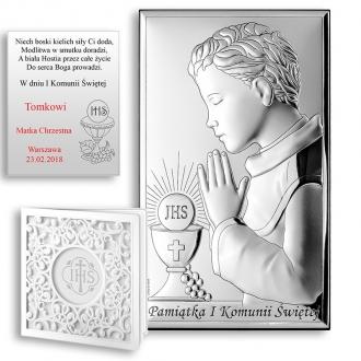 Obrazek Srebrny na Pierwszą Komunię z Chłopcem WVL803