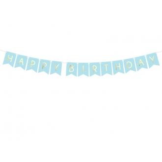 Baner Happy Birthday, j. niebieski, 15 x 175 cm