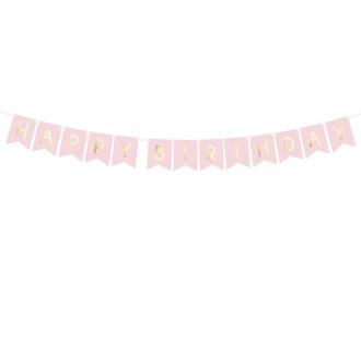 Baner Happy Birthday, j. różowy, 15 x 175 cm