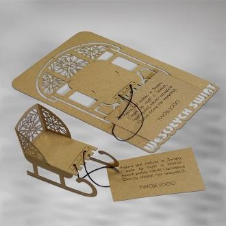 Kartka Świąteczna Sanki 3D FS558