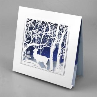 Kartka Świąteczna Renifer w Zimowej Scenerii FS753tb