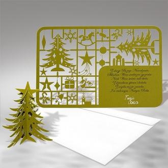 Kartka Świąteczna Oliwkowa Choinka 3D FS341zg