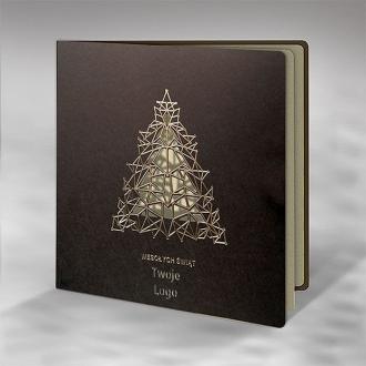 Kartka Świąteczna Złocona Wycięta Choinka FS896br