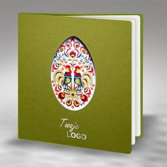 Kartka Świąteczna w Kolorze Oliwkowym Pisanka Folk W430