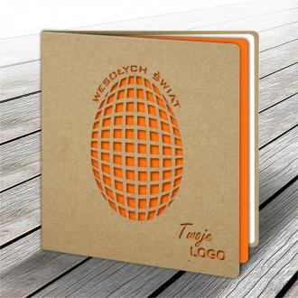 Kartka Świąteczna z Pomarańczowym Jajkiem Wyciętym Laserowo W574