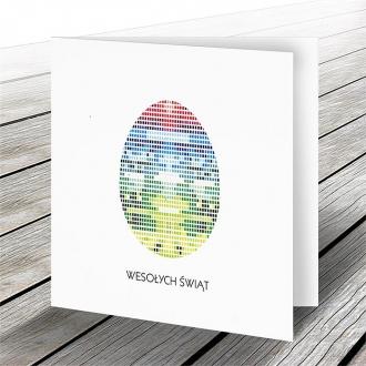 Kartka Świąteczna z Motywem Oryginalnego Kolorowego Jajka W575