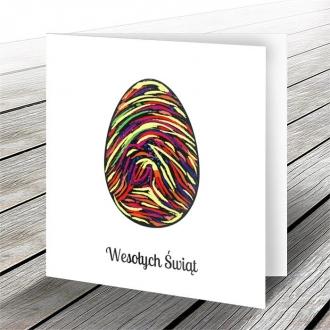 Kartka Świąteczna z Motywem Oryginalnego Kolorowego Jajka W577