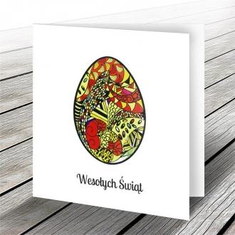 Kartka Świąteczna z Oryginalnym Motywem Kolorowego Jajka W579
