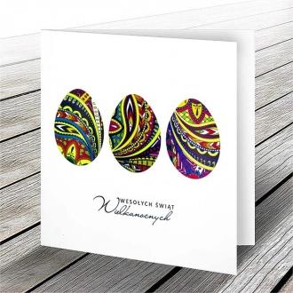 Kartka Świąteczna z Motywem Trzech Jajek w Kolorowych Wzorach W592