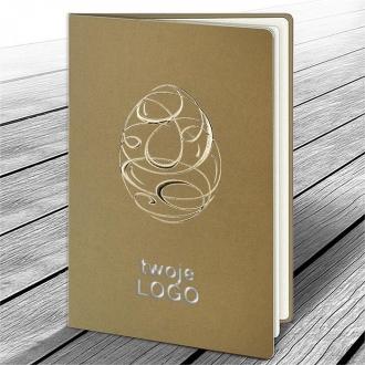 Kartka Świąteczna z Nowoczesnym Motywem Tłoczonego Złotego Jajka W587