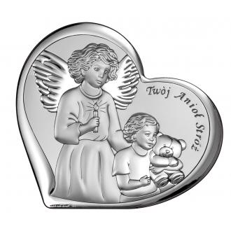 Obrazek Srebrny Twój Anioł Stróż 11x9,6 cm