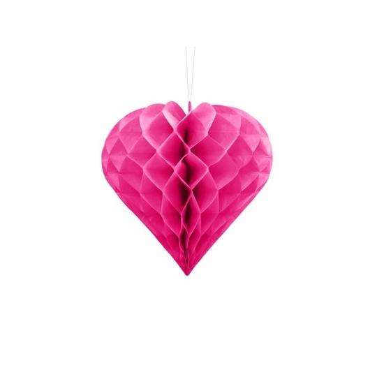 Serce bibułowe, ciemny różowy, 20cm