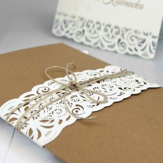 Zaproszenia Ślubne z Papierową Koronką F1336