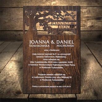 Zaproszenia Ślubne F1311 Motyw Drewniany