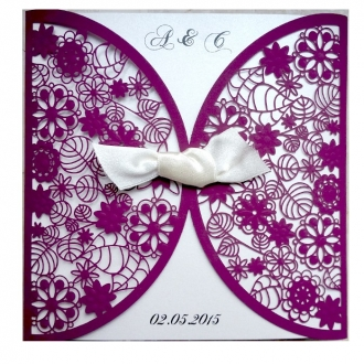 Zaproszenia Ślubne wykonane z papieru w kolorze purpurowym F1198pu