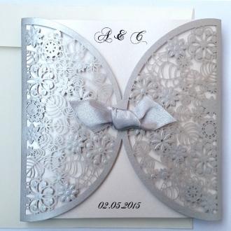 Zaproszenia Ślubne wykonane z papieru w kolorze srebrnym F1198s