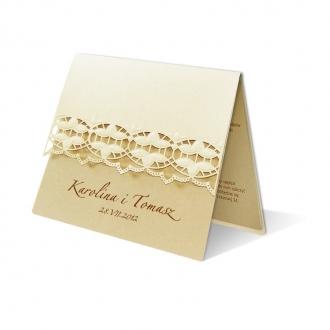 Zestaw zaproszeń ślubnych składający się z zaproszenia ślubnego, menu weselnego i winietki na stół Lotus II