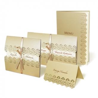 Zestaw zaproszeń ślubnych składający się z zaproszenia ślubnego, menu weselnego i winietki na stół Nea