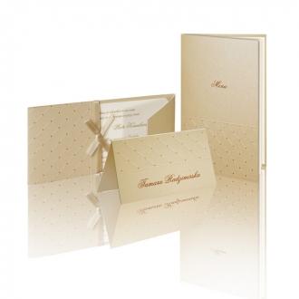 Zestaw zaproszeń ślubnych składający się z zaproszenia ślubnego, menu weselnego i winietki na stół Gallant