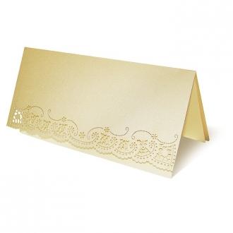 Zestaw zaproszeń ślubnych składający się z zaproszenia ślubnego, menu weselnego i winietki na stół Vintage III