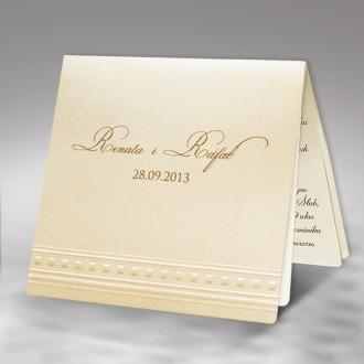 Zestaw zaproszeń ślubnych składający się z zaproszenia ślubnego, menu weselnego i winietki na stół Sidney II