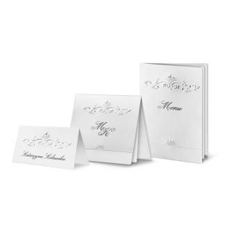 Zestaw zaproszeń ślubnych składający się z zaproszenia ślubnego, menu weselnego i winietki na stół Magnet