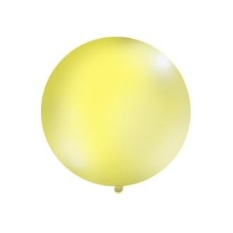 Balon 1m, okrągły, Pastel żółty, 1szt.