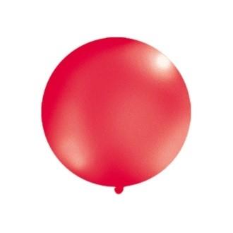 Balon 1m, okrągły, Metallic czerwony, 1szt.