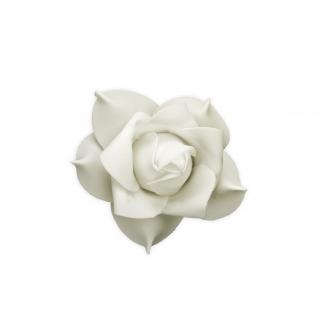 Kwiatki ozdobne z taśmą, kremowy, 11cm, 1op.